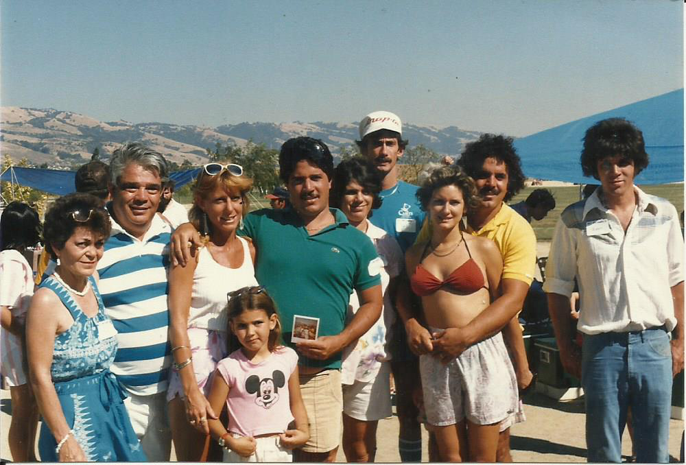 Harry and some of his children at the family reunion 1985