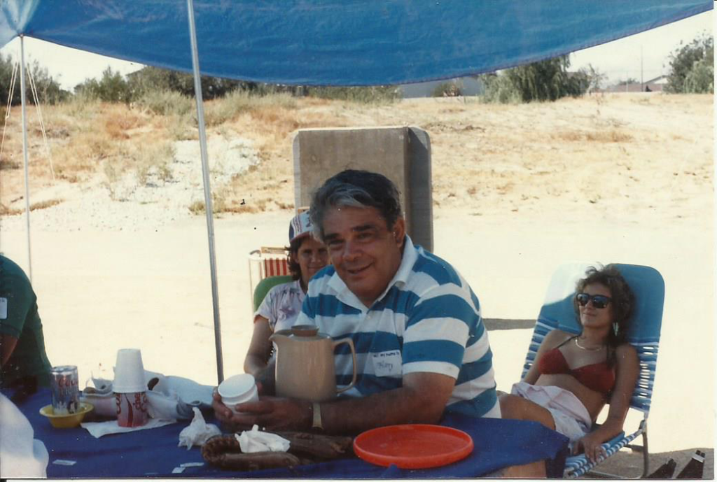 Uncle Harry at the family reunion 1985. His daughter Cynthia is directly behind him. You can see part of her face.